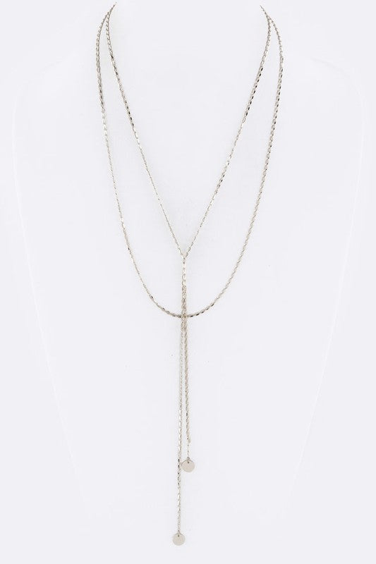 Double Disk Drop Layered Necklace