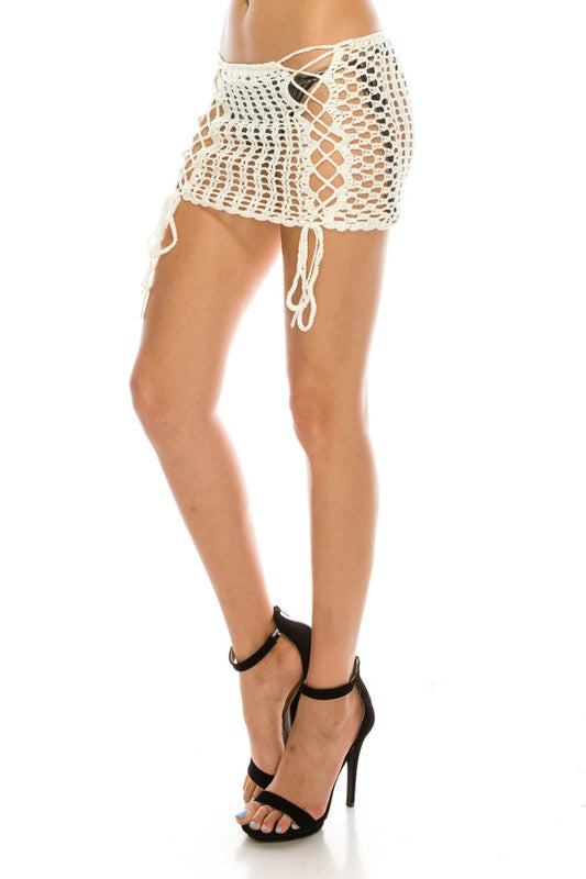 Crochet Lace Up Skirt- Ivory