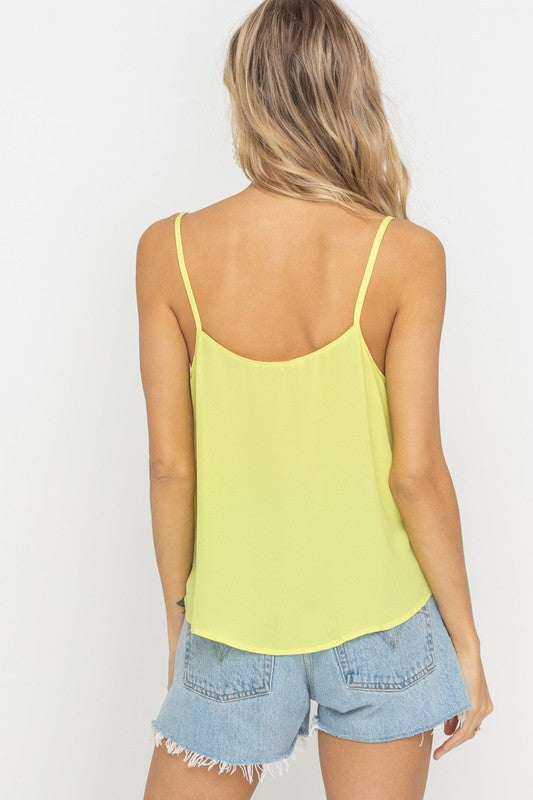 Knotted Accent Tank- Lime
