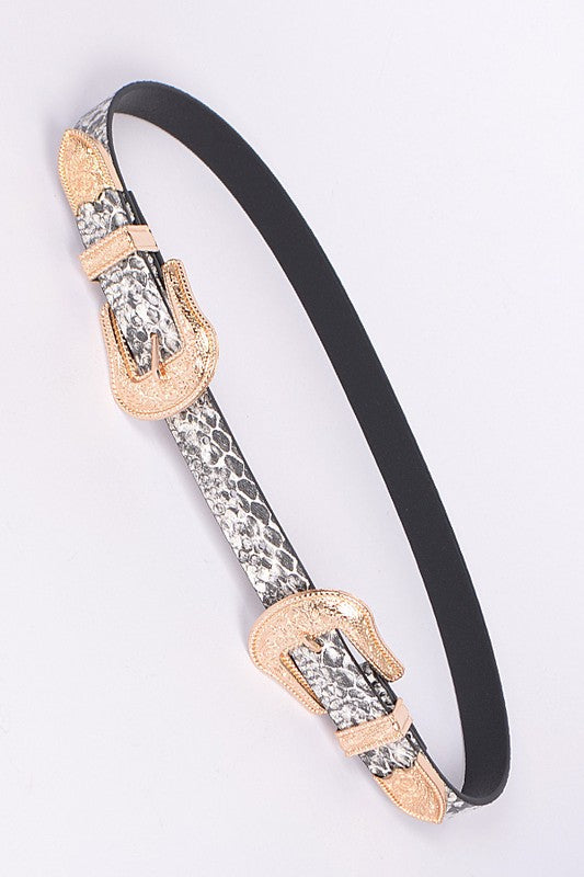 Snakeskin Gold Double Buckle Belt
