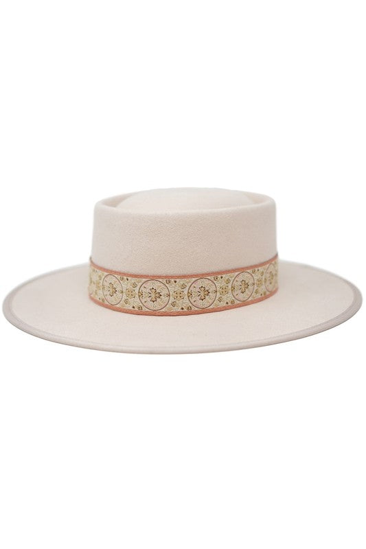 Gambler Floral Band Hat- Blush