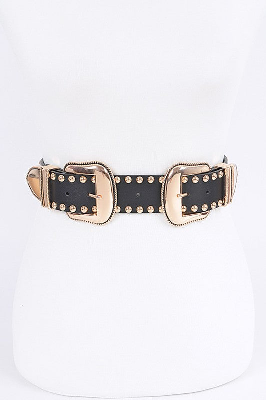 Western Studded Double Buckle Belt- Gold Media 1 of 1