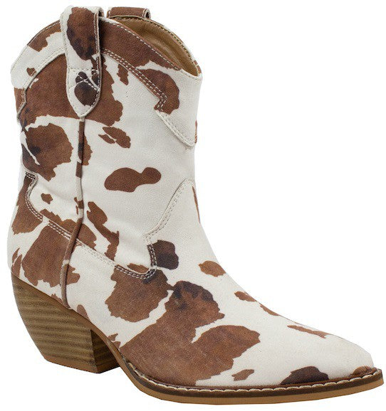 Holly Western Bootie- Cowhide