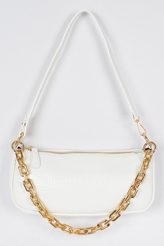 Crocodile Chain Shoulder Bag - White
