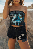 REPURPOSED STAR DENIM SHORTS-BLACK - Trendy and Tipsy