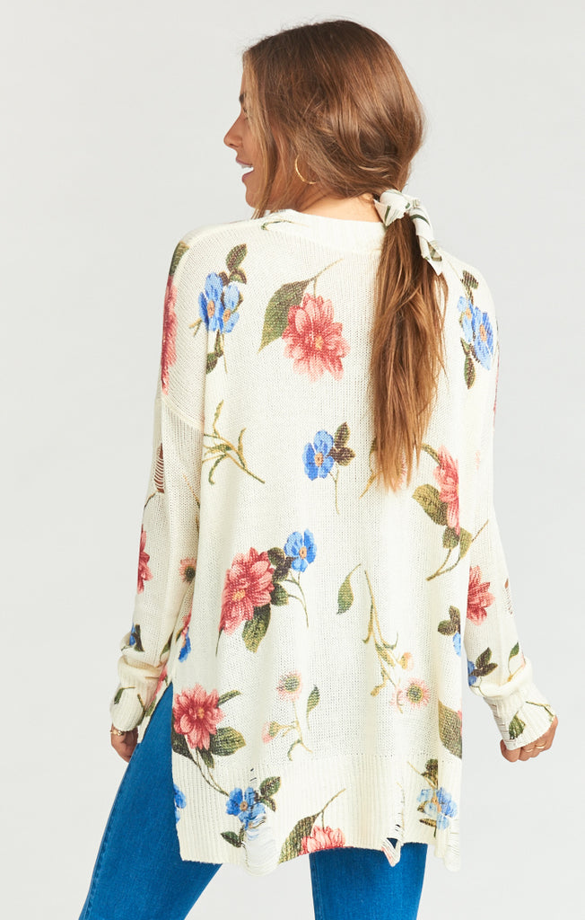Show Me Your Mumu Cliffside Distressed Sweater- Florence Floral