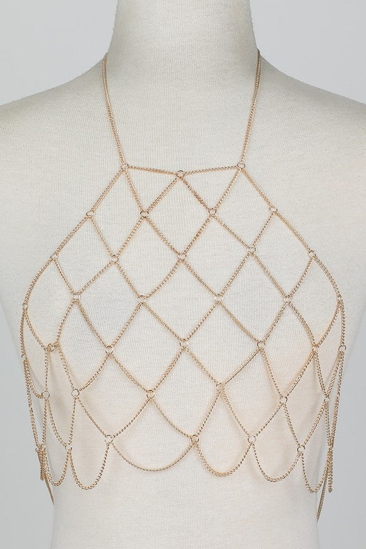 Checkered Bodychain Top - Trendy and Tipsy