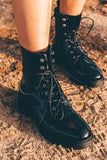 Norris Combat Lace Up Boots- Black