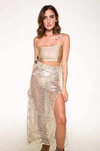 Wren Skirt- Gold Squares