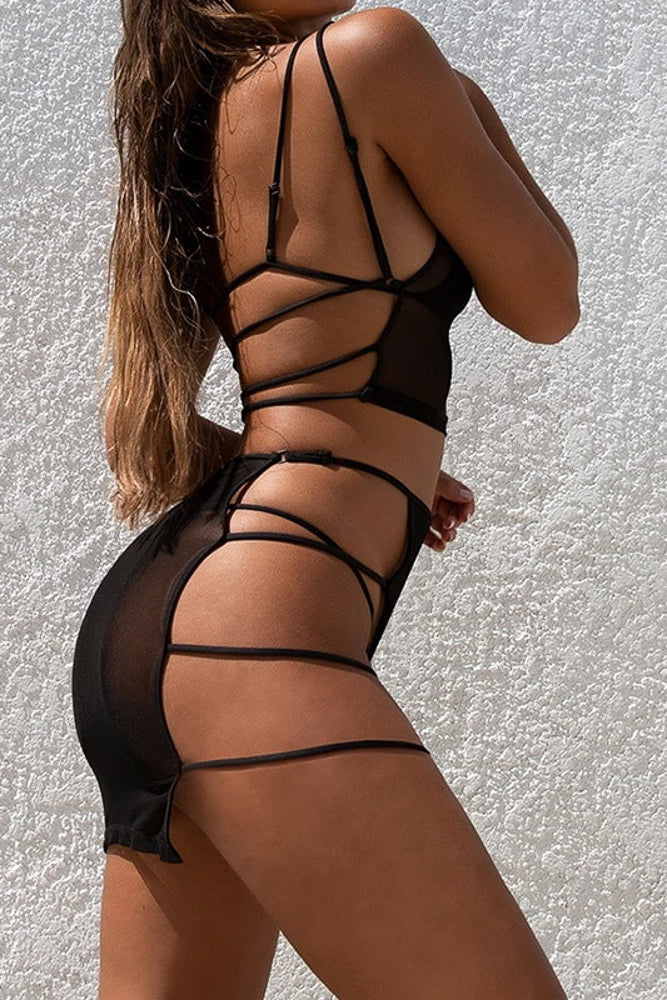 Mesh Cover Up Set- Black