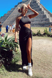 Mayan Halter Dress- Black