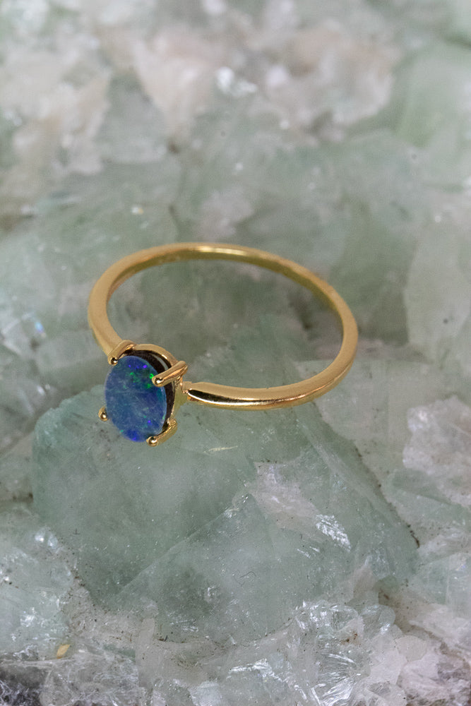 Serenity Opal Dainty Ring- Gold