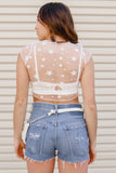 Star Mesh Cropped Tee- White