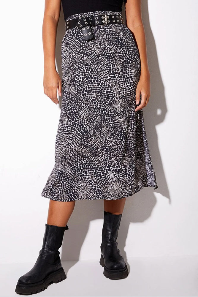Tindra Midi Skirt In Abstract Croc Black