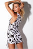 Ivette Ruched Mini Dress- Cow Print