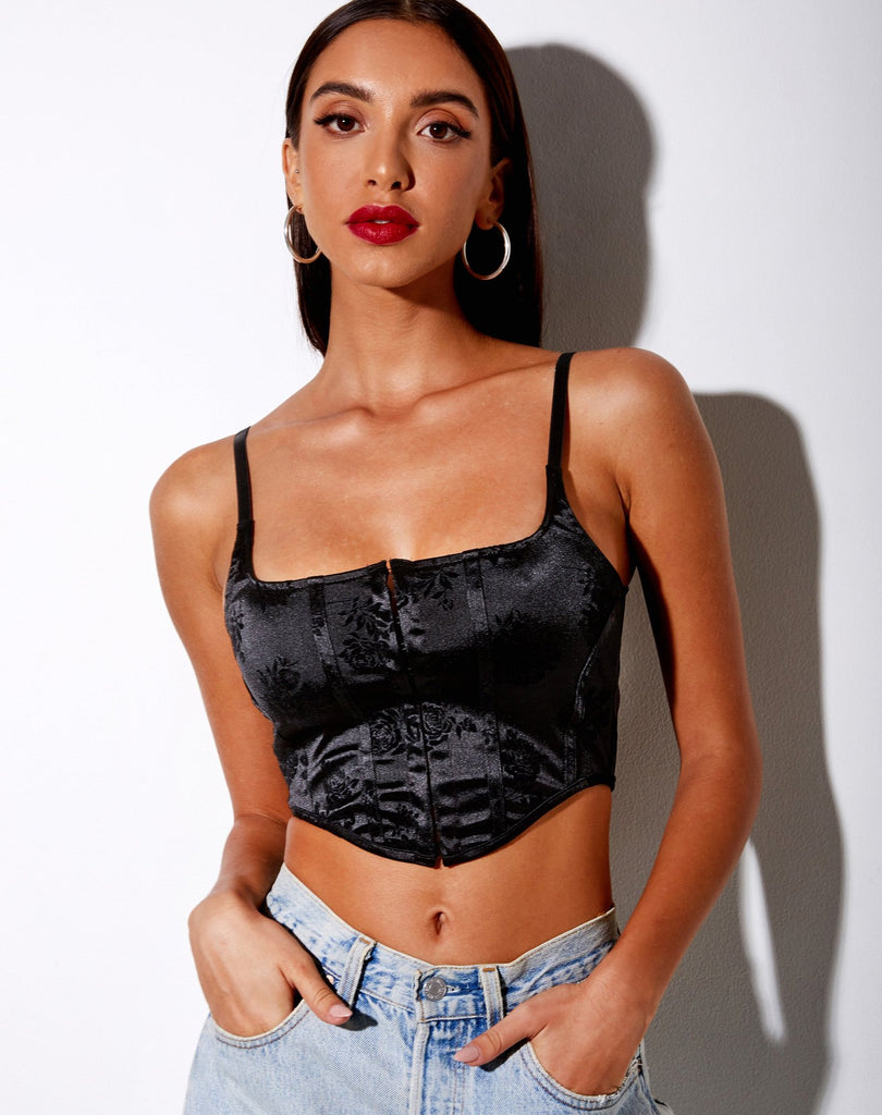 Elicia Crop Top In Black Rose Flock