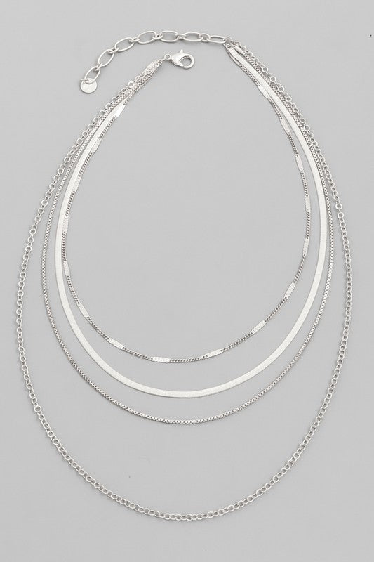 Multi Chain Necklace - Silver