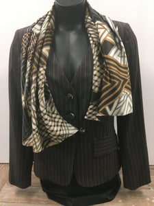 Italian Brown Pin Striped Jacket With Scarf  Size 10 Pre -owned