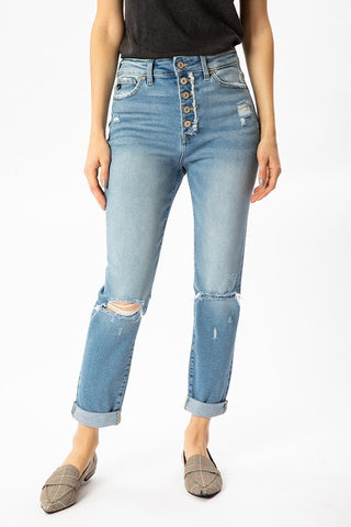 KanCan Button-Up Distressed Jeans