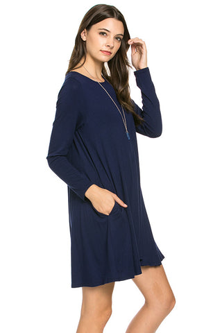 Carolina Dress - Navy (Long-Sleeve)