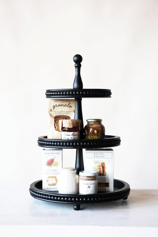 Black 3-Tier Wood Tray