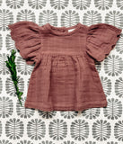 Muslin Embossed Sleeve Top - Sangria Mauve