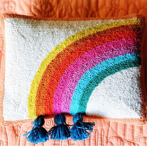Rainbow Hooked Pillow by Justina Blakeney