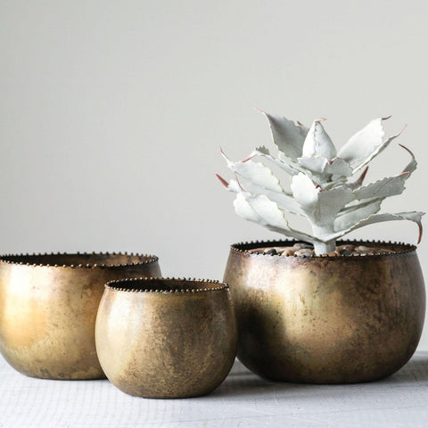 Distressed Antique Brass 3-Piece Pot Set