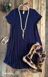 B123 Luxe Bamboo Tunic Dress - Navy - Bungalow 123 - 1