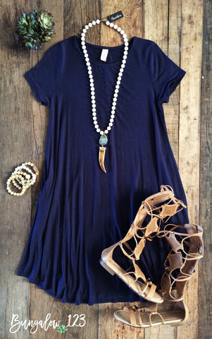 B123 Luxe Bamboo Tunic Dress - Navy