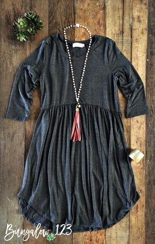 Locken Dress - Charcoal