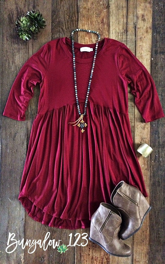 Locken Dress - Burgundy - Bungalow 123 - 1