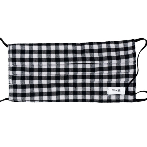 Adult Face Mask - Black Gingham