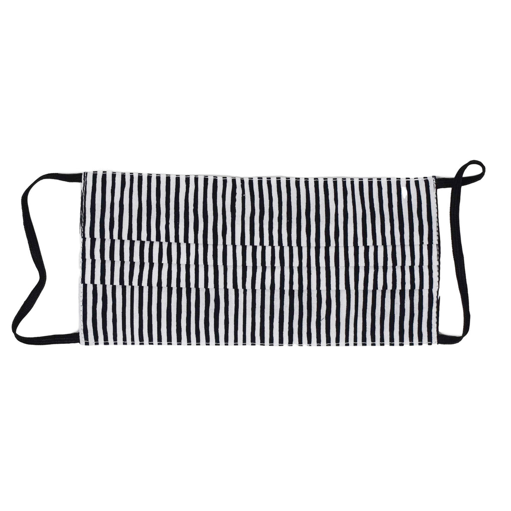 Adult Face Mask - Black & White Striped