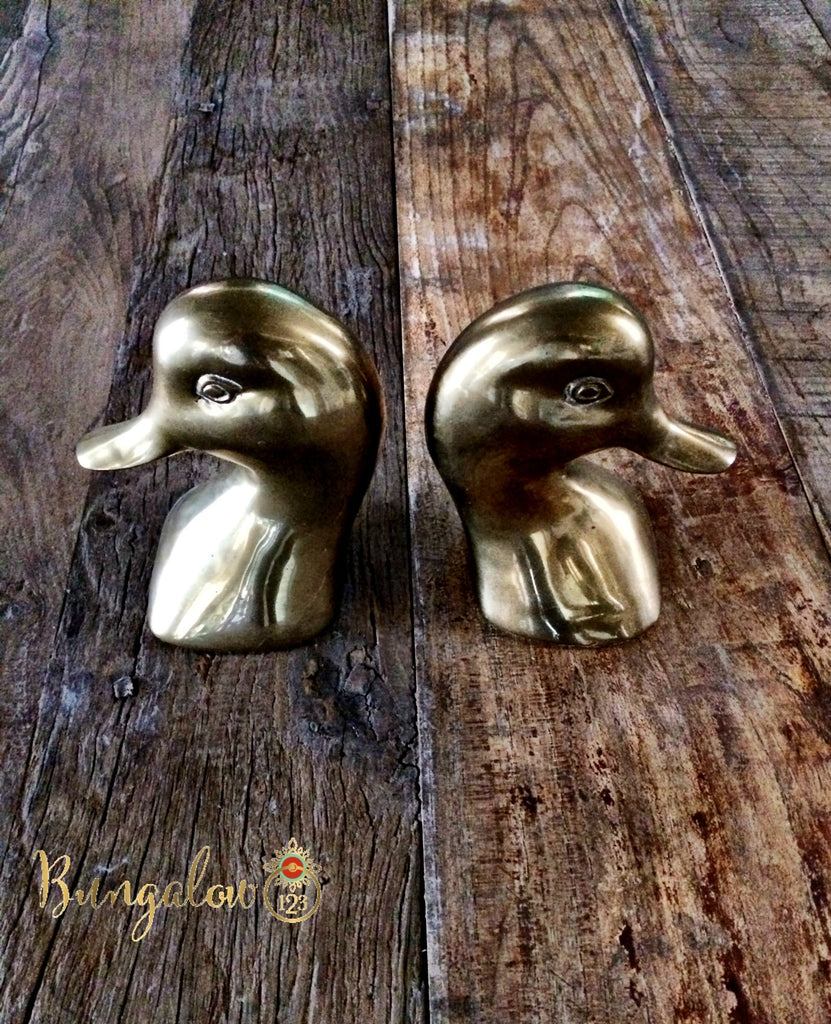 Vintage Brass Duckhead Bookends - Bungalow 123 - 1