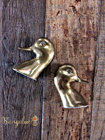 Vintage Brass Duckhead Bookends