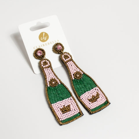 Champagne Bottle Beaded Earrings