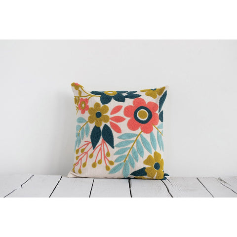 Woven Floral Embroidered Pillow