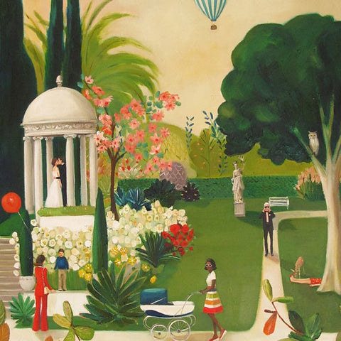 A Fainting in the Botanical Gardens - Janet Hill Art Print