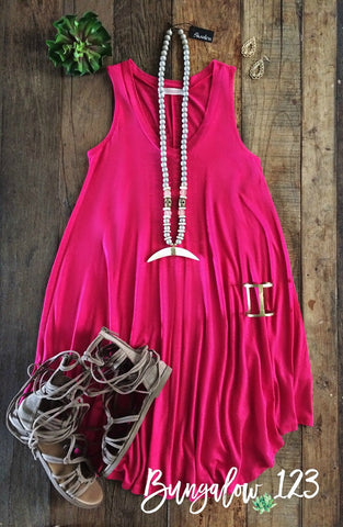 Shaw Dress - Fuchsia