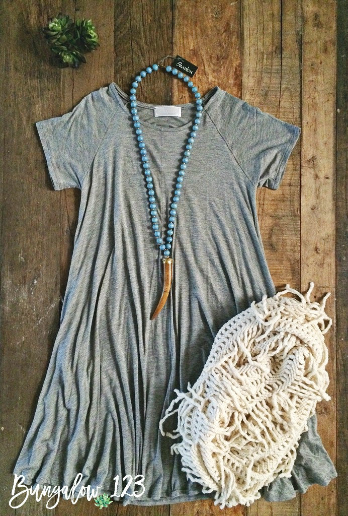 Magnolia Tunic Dress - Heather Gray - Bungalow 123