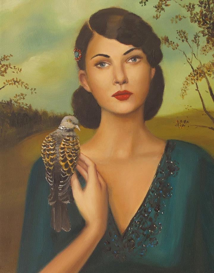 Elspeth With Her Turtledove - Janet Hill Studio Art Print