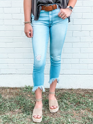 KanCan High-Rise Fray Ankle Jeans