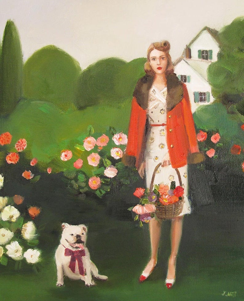 Beatrice in the Garden On Her Sixth Birthday - Janet Hill Studio Art Print