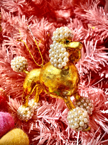 Beaded Poodle Ornament