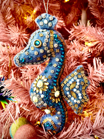 Beaded Seahorse Ornament - Assorted