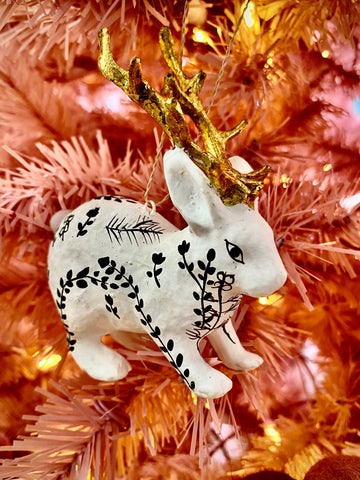 Moonlit Jackalope Ornament