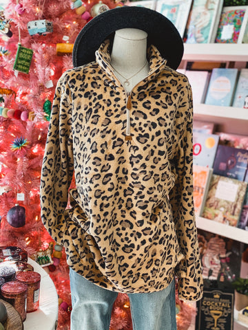 Holiday Promo Leopard Zip-Up Pullover