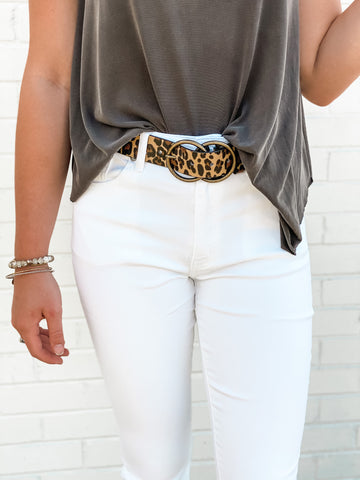 Double Buckle Leopard Belt