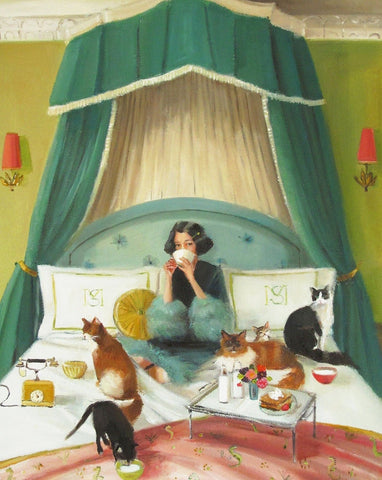 Mademoiselle Mink Breakfast in Bed - Janet Hill Studio Art Print